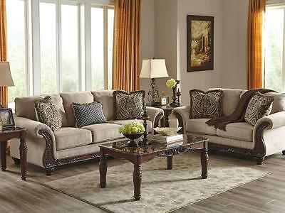 ROMEO-Traditional Wood Trim Gray Fabric Sofa Couch Set Living Room New  Furniture | eBay