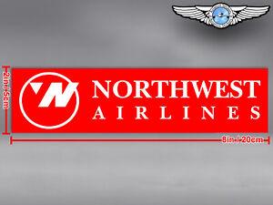 NORTHWEST NORTH WEST AIRLINES LOGO RECTANGULAR DECAL / STICKER