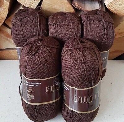 Good Old Fashioned DK dark brown Double Knitting Yarn 500g acrylic