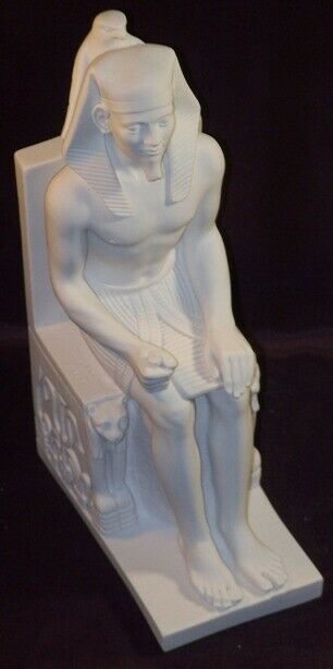 Statuette pharaoh on his throne alabaster 23 cm