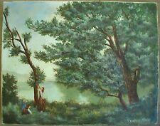 Vintage Impressionism Painting VICTORIAN Mother Children Antique Reproduction