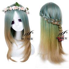 US Warehouse Green Gradient Cosplay Anime Hair Long Straight Full Wig Part Bangs