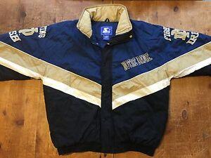 Details zu Vintage 90s NCAA Notre Dame Fighting Irish Starter Football Jacket Coat Sz L
