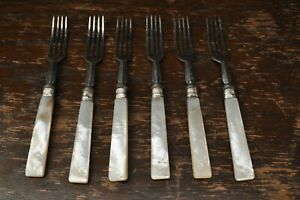 Lovely-Vintage-Silver-Plate-6-Forks-With-Mother-of-Pearl-Handles