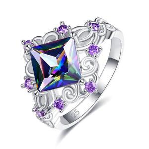 New-Tanzanite-amp-Amethyst-amp-Rainbow-White-Topaz-Gemstone-Silver-Ring-Size-6-7-8-9
