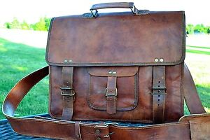 Real-Genuine-Vintage-Leather-Messenger-Bag-Satchel-Men-039-s-Briefcase-Laptop-Bag