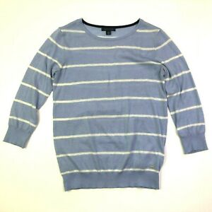 Tommy hilfiger 3/4 sleeve striped light weight sweater light pale blue size xs
