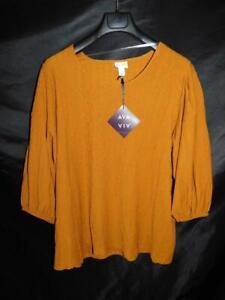 Ava-amp-Viv-2X-NWT-Dark-Orange-Brown-Shirt-3-4-Sleeve-Textured-Top-20W-22W-Stretch