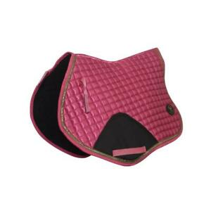 Crystal-Ace-Equestrian-Horse-Quilted-Saddle-Pad-Numnahs-Pink-Saddlecloth-Satin