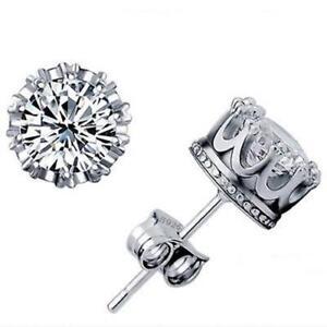 Fasdhion-Men-Women-Silver-Post-Stud-Crown-AAA-Cubic-Zirconia-Earrings