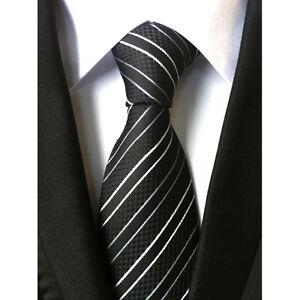 New-Classic-Striped-Black-White-JACQUARD-WOVEN-Silk-Men-039-s-Tie-Necktie