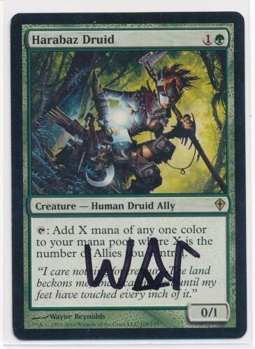MTG Harabaz Druid Worldwake Rare Signed by Artist Wayne Reynolds LP