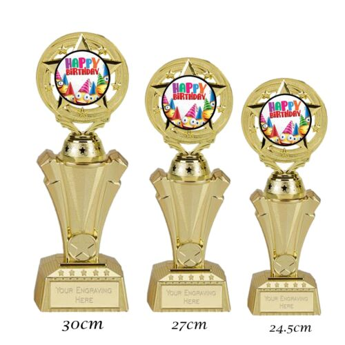 Happy Birthday Trophy  3 Sizes available FREE ENGRAVING