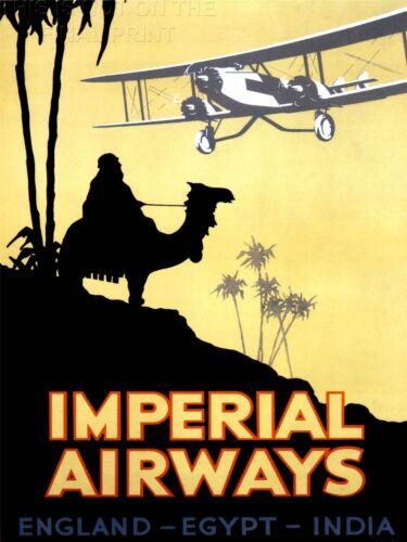 PRINT TRAVEL RETRO ADVERT IMPERIAL AIRWAYS UK EGYPT INDIA ARAB CAMEL NOFL1360