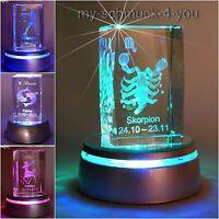 3D Glas Kristall Sternzeichen Waage Skorpion Schütze  LED Leuchtsockel Gravur