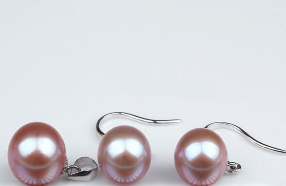 SET 11MM NATURAL SOUTH SEA GENUINE PERFECT AAA gold PINK PEARL EARRING PENDANT