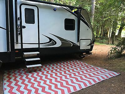 Rv Patio Rug Outdoor Camping Mat Chevron Pattern 9x12 Ebay