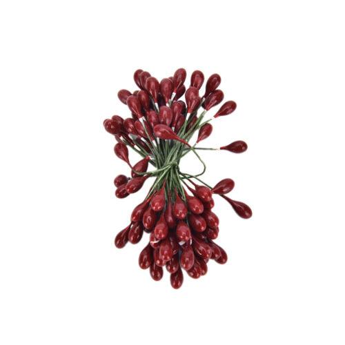 100x artificiel rouge Holly Berry sur faisceau fils guirlande Couronne Noël  I