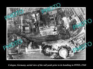 OLD-LARGE-HISTORIC-MILITARY-PHOTO-COLOGNE-GERMANY-AERIAL-VIEW-BOMBING-c1940