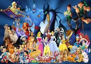 DISNEY CHARACTERS POSTER Wall Art Print Picture Photo A3 A4