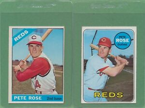 Details About 2 Card Lot 1966 1969 Topps Pete Rose Reds 30 120 Ex