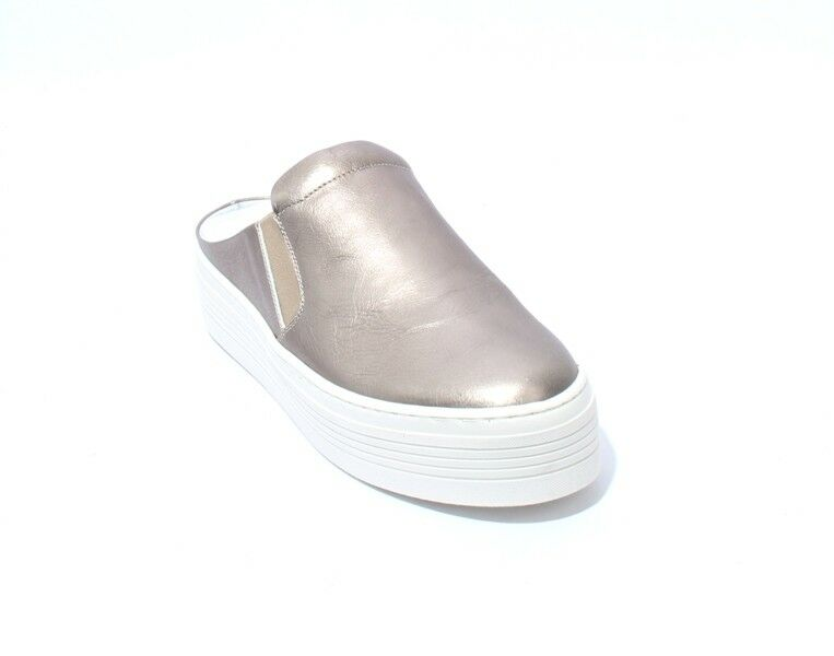 Mally 6176 Bronze Metallic White Leather Platform Sandals Mules shoes 38   US 8