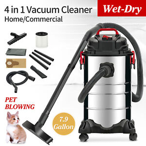 Portable 8 Gallon 4-in-1 Wet Dry Vacuum Cleaner Vac Shop 3.5 HP Stainless Steel