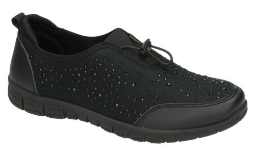 Spot On F7054 Ladies Black Casual Lightweight Shoes