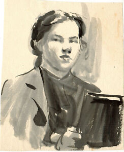 1950's WOMAN'S WATERCOLOR PORTRAIT #1 by U/K Soviet Russian artist