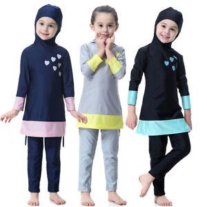 2PCS Muslim Girls Kids Swimming Beachwear Islamic Modest Swimwear Swimsuit Sets