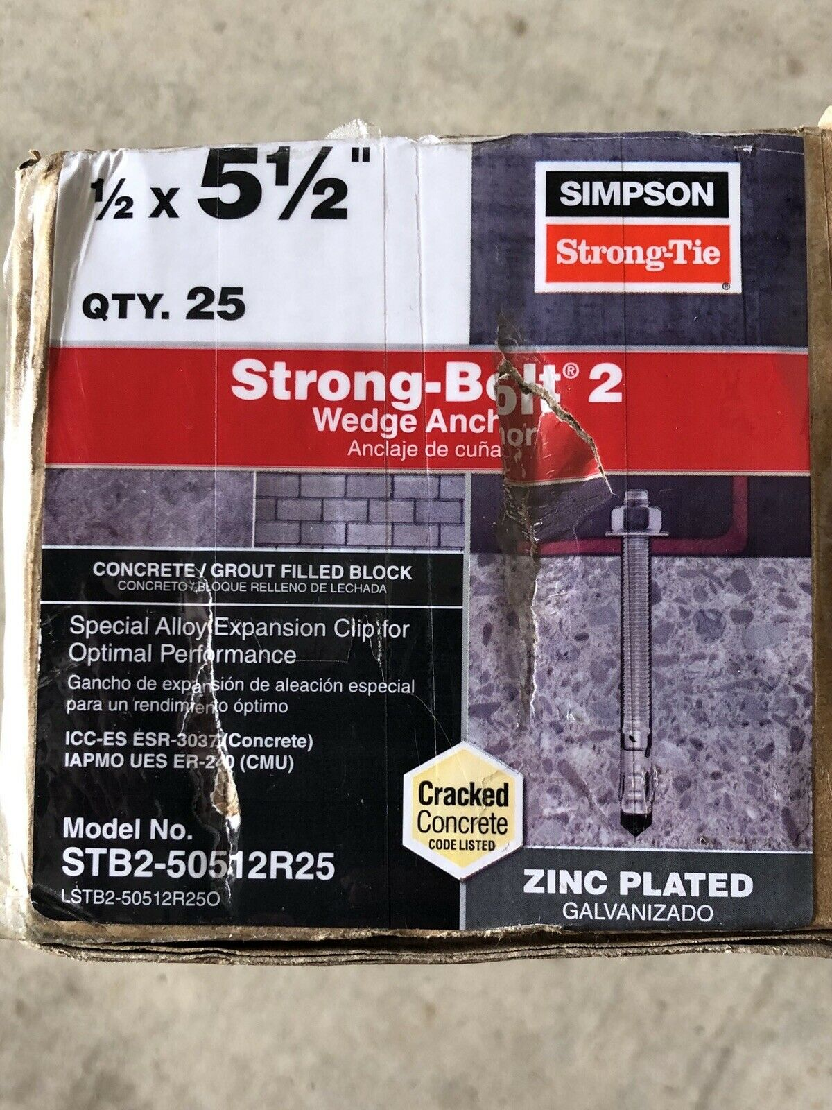 """Simpson Strong-Tie STB2-37300R50 3//8/"""" x 3/"""" Strong-Bolt2 Wedge Anchor 50ct"""