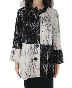 Ali Miles Women's Jacket Black Size Large L Colorblock Button Front $79 #978