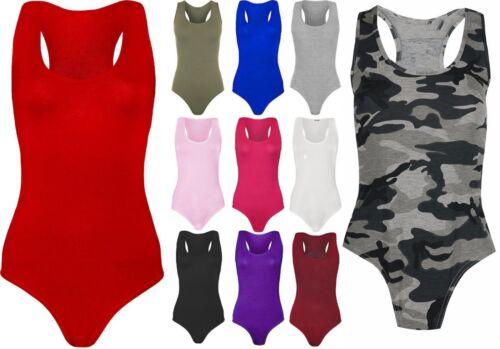 Femmes Femmes Sans Manches Dos Nageur Justaucorps Stretch Body Débardeur 8-22