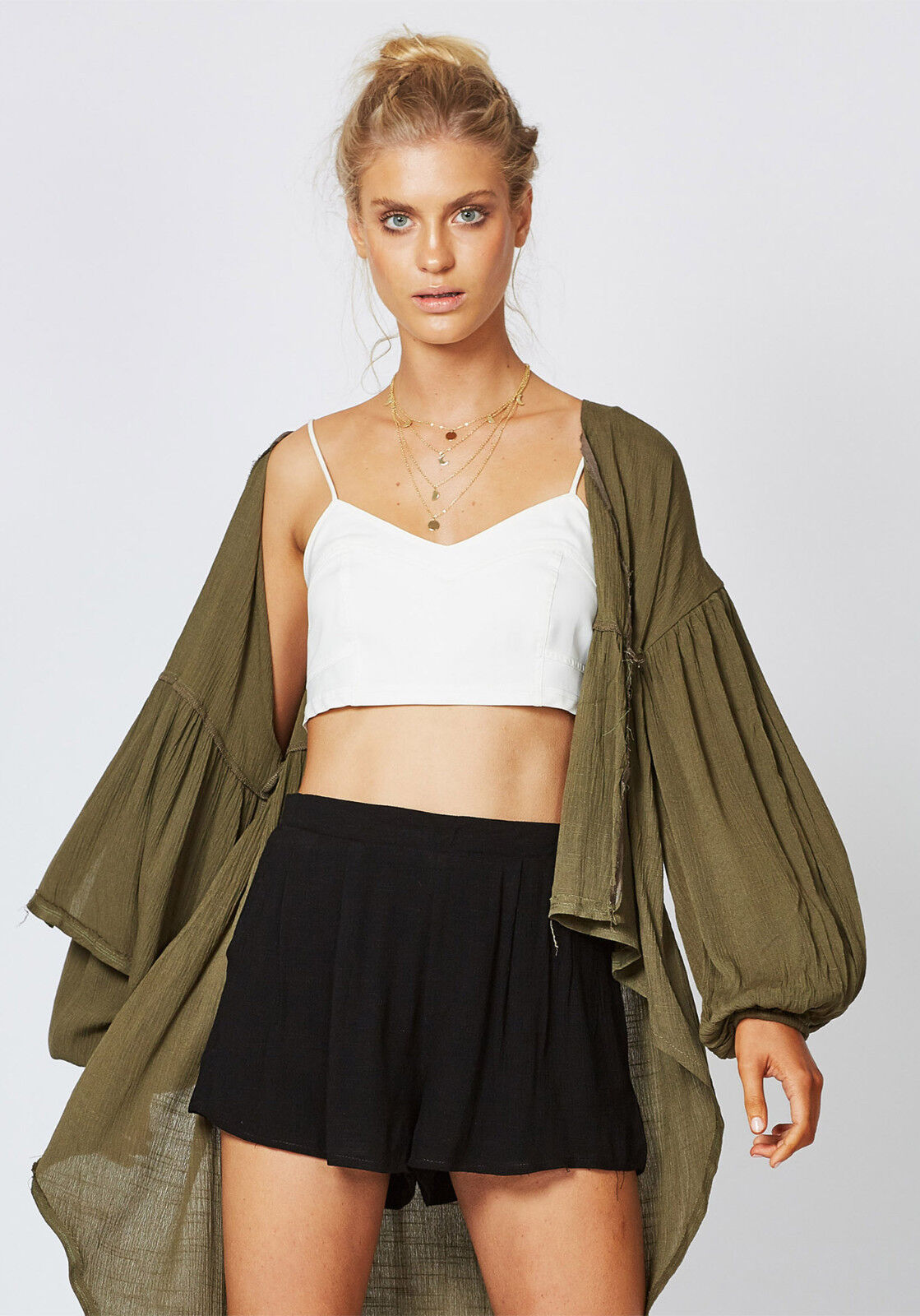 NEW TIMES TEN THE LABEL KHAKI FESTIVAL CAPE  SIZES XS TO XL