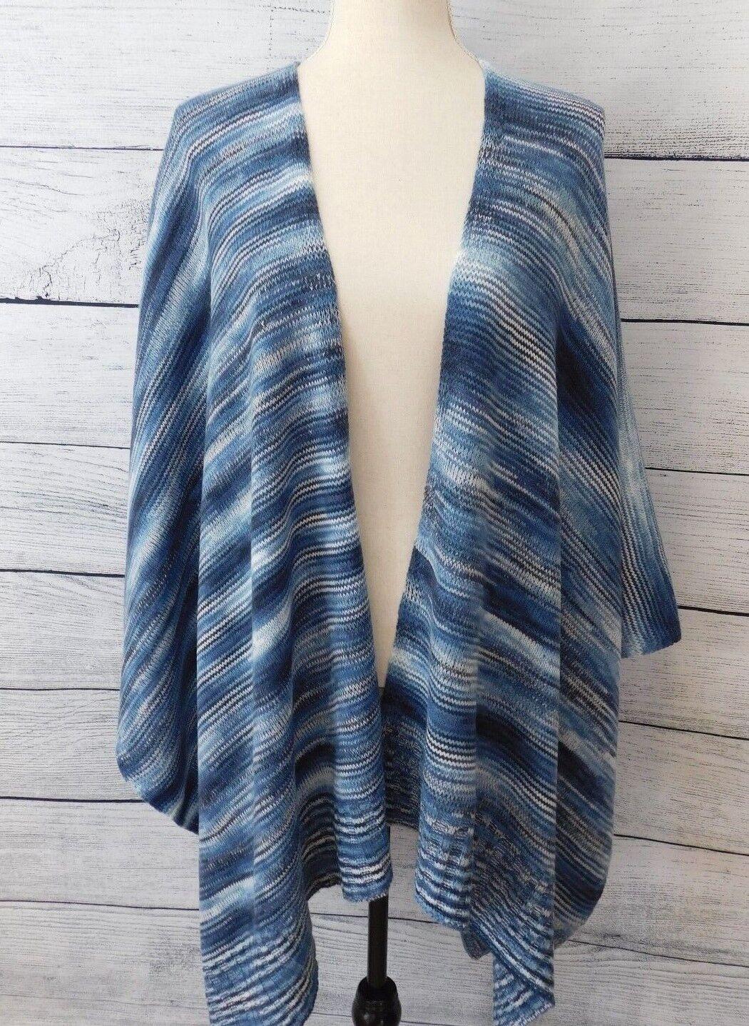 J. Jill Womens Wrap Sweater Navy bluee Ivory Ivory Ivory One Size Multi Marled Knit Ruana NEW e39ada