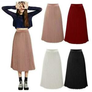 Women-039-s-Summer-Pleated-Chiffon-Elastic-Waist-Double-Layer-Long-Midi-Skirt