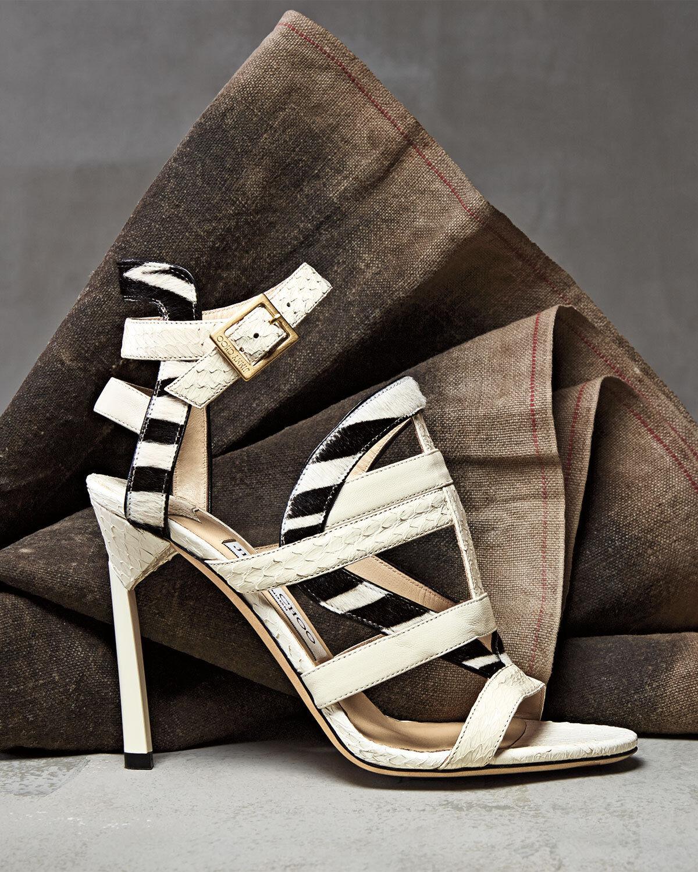 NIB  1,195+ JIMMY CHOO VANQUISH Strappy Sandal shoes White Zebra Print Pony 36.5