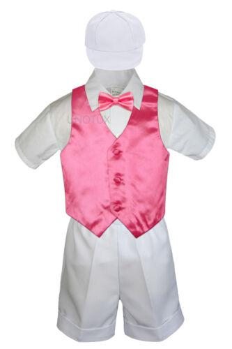 5pc Baby Boys Toddler Formal Vest Shorts White Suit Satin Vest Bow Tie Set S-4T