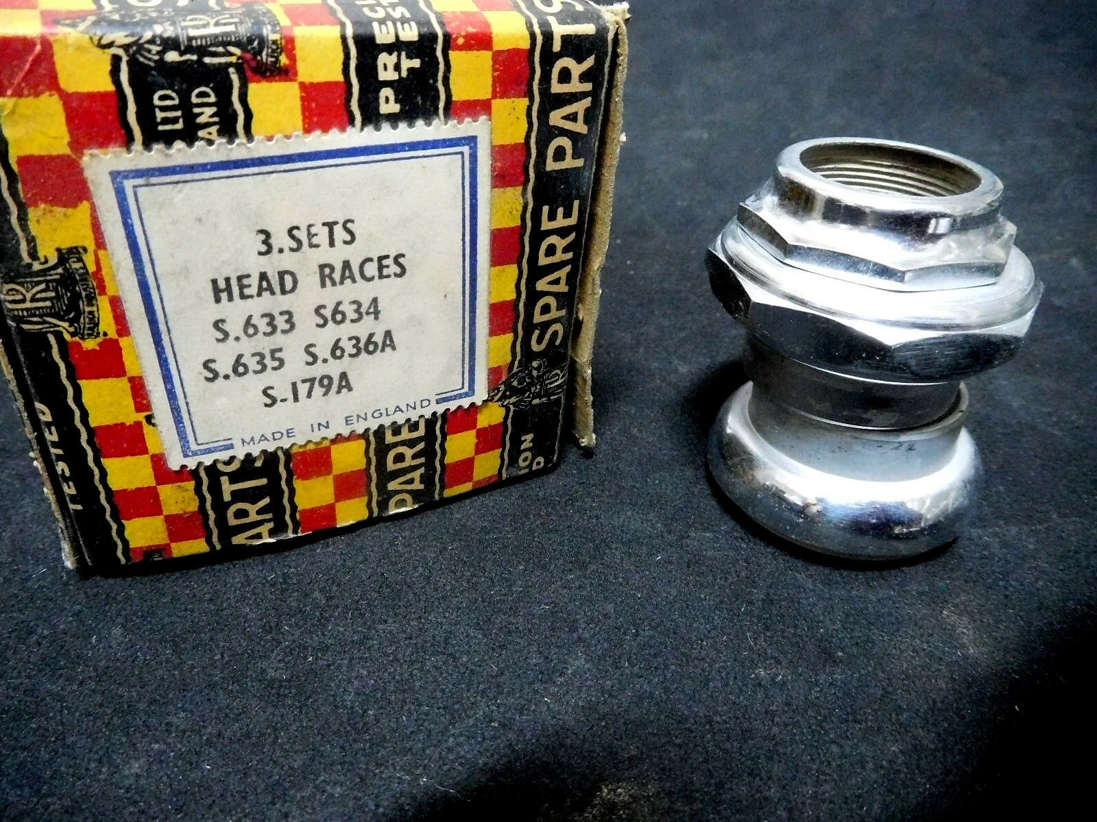 Vintage RALEIGH Bicycle  Head fittings 1  26 T.P.I NOS 1950s Set of 5 NOS  not to be missed!