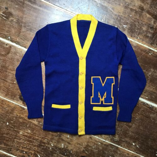 Vintage 50s Michigan Wolverines Varsity Cardigan S