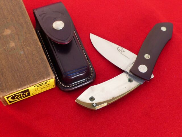 Colt Hunting Knife USA Barry Wood MIB Brown U1050 roll fold knife with sheath