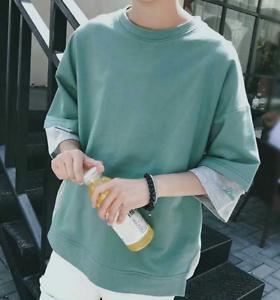Summer Mens Causal Shirt Lace Up Short Sleeve Tops Loose T-shirt  Blouse Tee