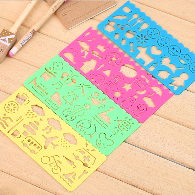 Kids Children Plastic Picture Drawing Template Stencils Rulers Painting DIY Art