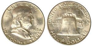 STATI UNITI 1/2 DOLLARO 1963 D FRANKLIN argento Q.Fdc #4283