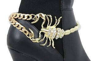 Women Boot Bracelet Gold Metal Chain Bling Anklet Shoe Scorpion Big Charm Desert