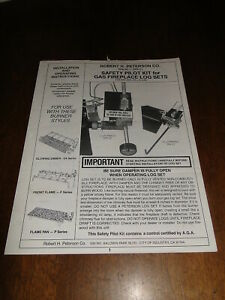 Robert H Peterson Pilot Kit Gas Fireplace Installation Operating Instructions