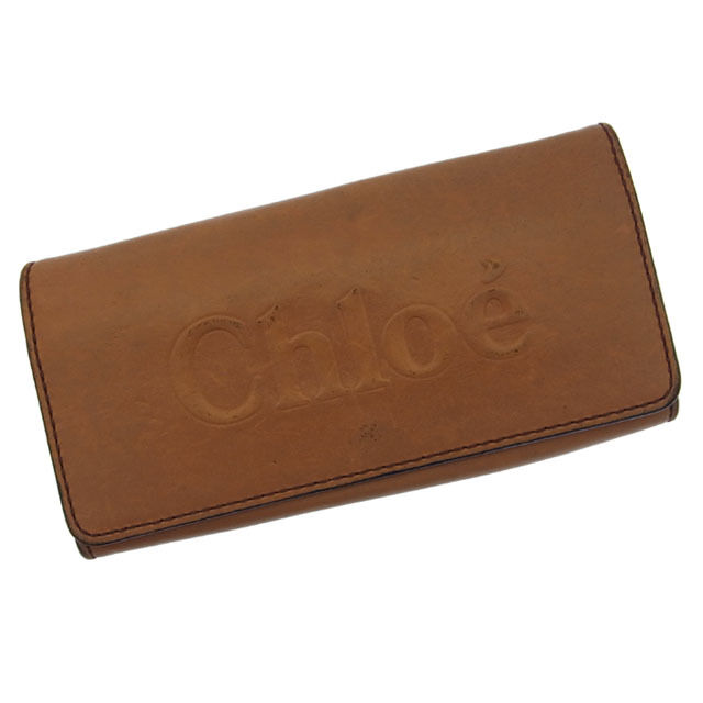 Chloe Wallet Purse Long Wallet Logo Brown Gold Woman Authentic Used F554