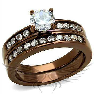 Brilliant Round Cubic Zircon CZ AAA Coffee IP Wedding Set 5 6 7 8 9 10 TK8X003LC