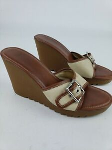 a781c48d03 Women's Coach Shoes Size 8.5 M Terry Buckle Signature Wedges Sandals ...