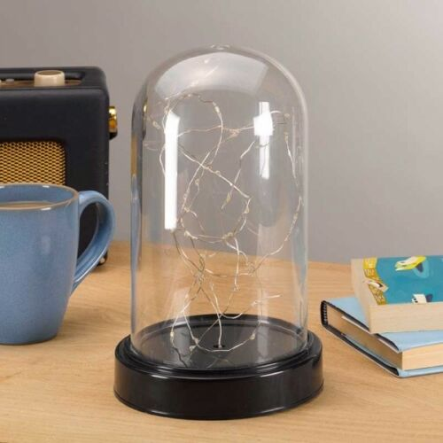 40 LED Decorative Bell Jar Light Up Dome Wire Fairy Lights Glass Cloche Ornament